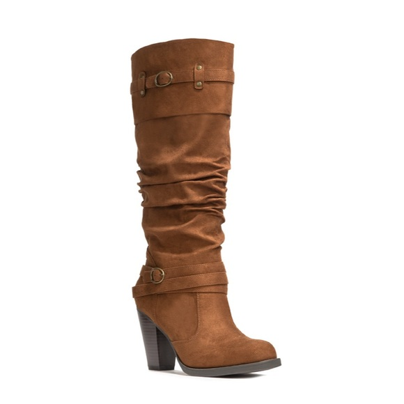 JustFab Dania Brown knee High Slouch Boots 👢